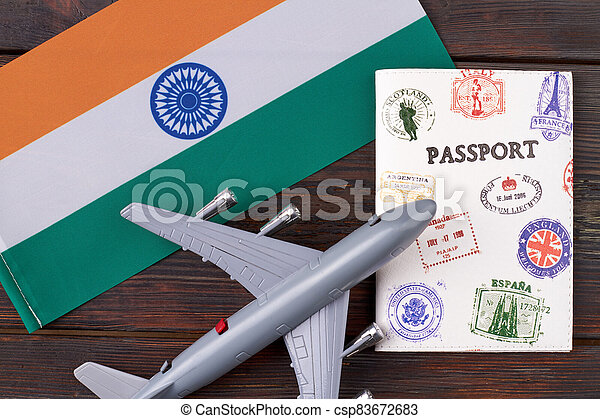 Flat lay concept of flight to India. - csp83672683