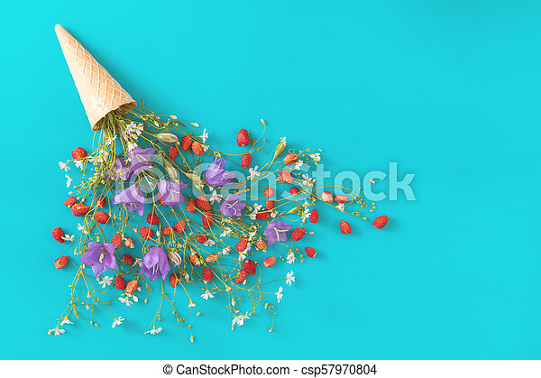 Flat lay, top view sweet food floral background. - csp57970804