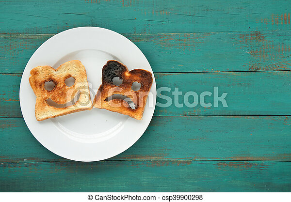 Flat lay view of two slices of toasted bread - csp39900298