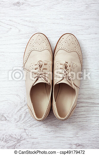 Flat lay women's fashion shoes casual design on white background isolated - csp49179472