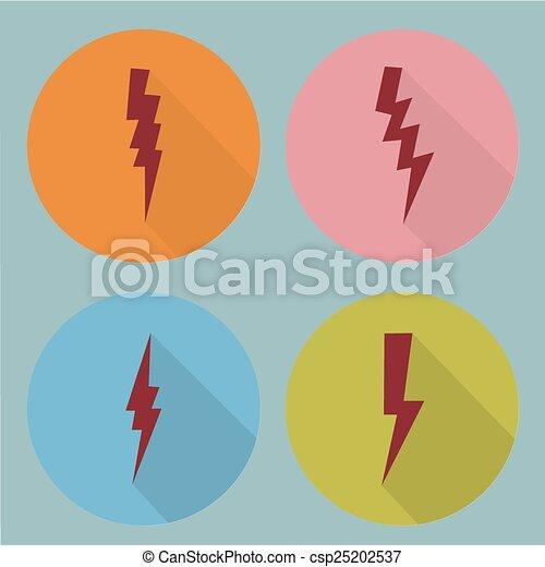 Flat lightning symbols set. - csp25202537