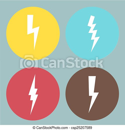Flat lightning symbols set. Vector. - csp25207589