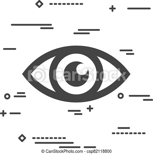 Flat Line art design graphic image concept of a eye icon on a wh - csp82118800