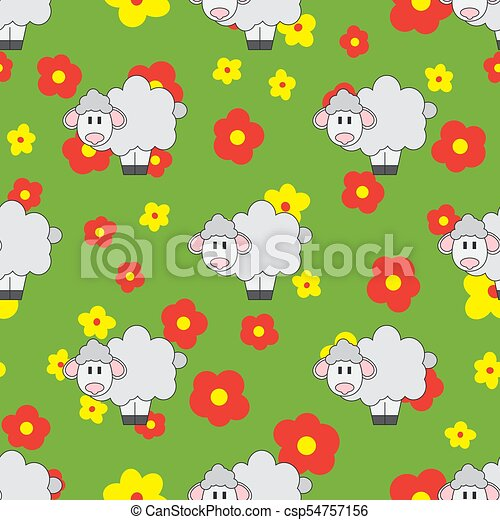 Flat Line Color Vector Seamless Pattern Cute Animal For Baby Products