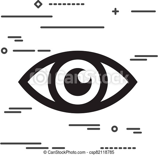 Flat Line design graphic image concept of eye icon on a white ba - csp82118785