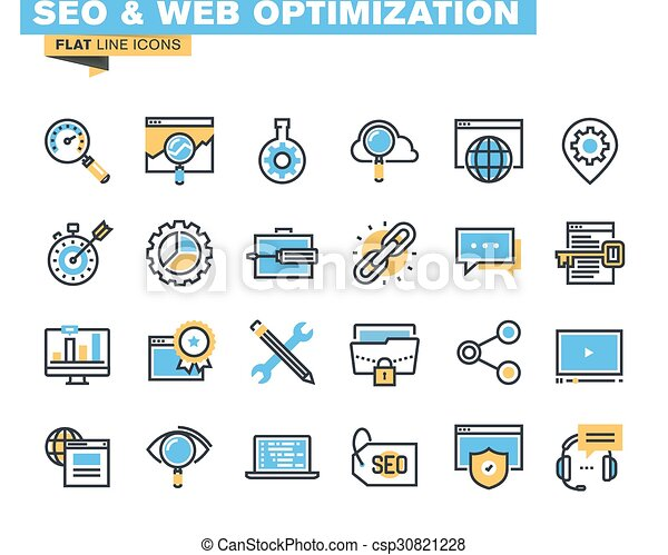 Flat line icons for SEO - csp30821228