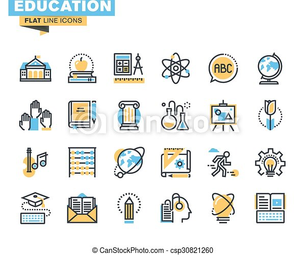 Flat line icons of education - csp30821260