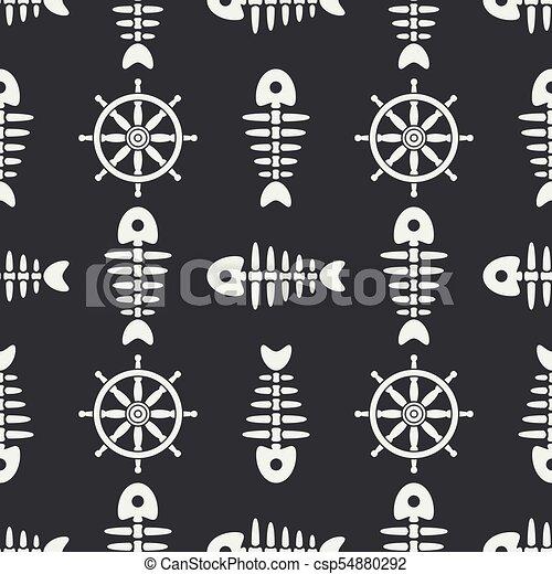 Flat Line Monochrome Vector Seamless Pattern Ocean Fish Bone, Skeleton With Steering Wheel. Retro