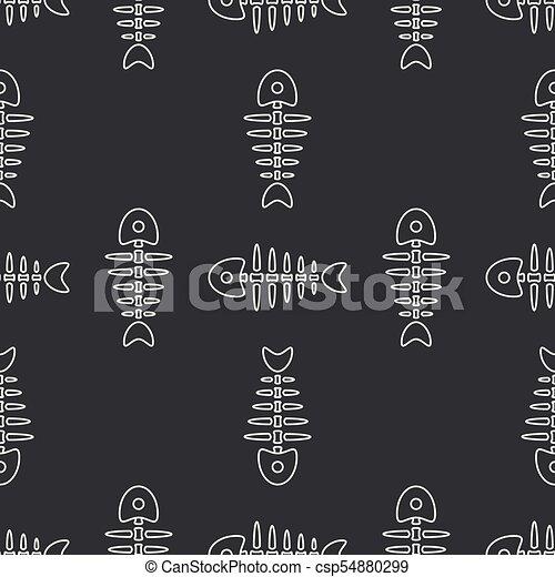 Flat line monochrome vector seamless pattern ocean fish bone, skeleton. Simplified retro. Childish cartoon style. Skull. Sea doodle art. Background. Illustration and element for your design, wallpaper - csp54880299
