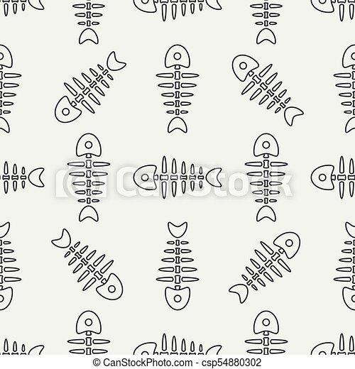Flat line monochrome vector seamless pattern ocean fish bone, skeleton. Simplified retro. Childish cartoon style. Skull. Sea doodle art. Background. Illustration and element for your design, wallpaper - csp54880302