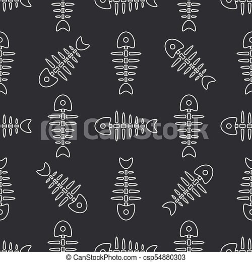 Flat line monochrome vector seamless pattern ocean fish bone, skeleton. Simplified retro. Childish cartoon style. Skull. Sea doodle art. Background. Illustration and element for your design, wallpaper - csp54880303