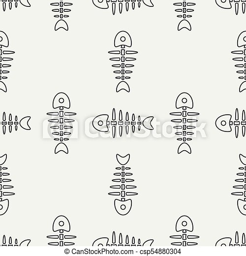 Flat line monochrome vector seamless pattern ocean fish bone, skeleton. Simplified retro. Childish cartoon style. Skull. Sea doodle art. Background. Illustration and element for your design, wallpaper - csp54880304