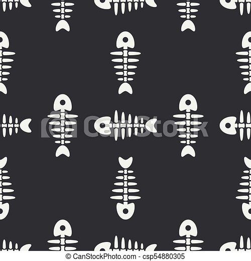 Flat line monochrome vector seamless pattern ocean fish bone, skeleton. Simplified retro. Childish cartoon style. Skull. Sea doodle art. Background. Illustration and element for your design, wallpaper - csp54880305