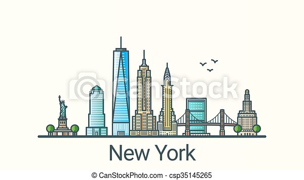Flat Line New York Banner Banner Of New York City In Flat Line Trendy Style All Buildings Separated And Customizable Line