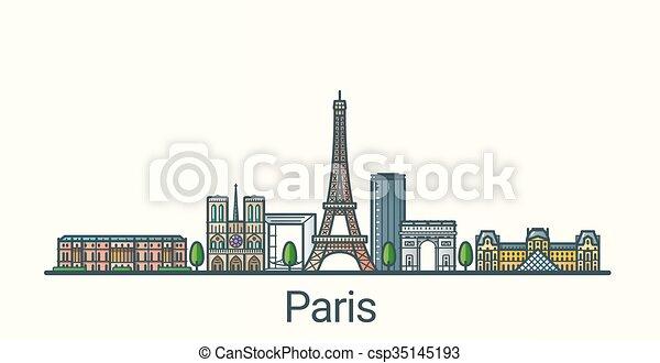 Flat line Paris banner - csp35145193