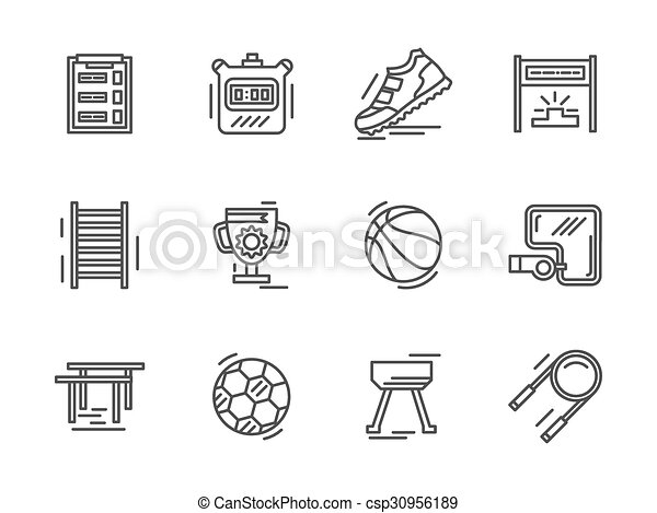 Flat Line Sports Equipment Vector Icons