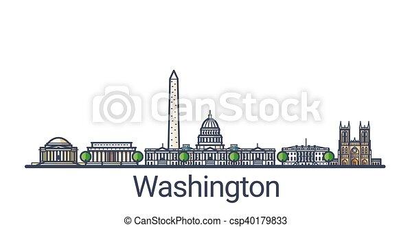 Flat line Washington banner - csp40179833