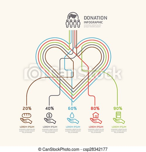 Flat linear Infographic Charity and Donation Outline concept.Vector Illustration.  - csp28342177
