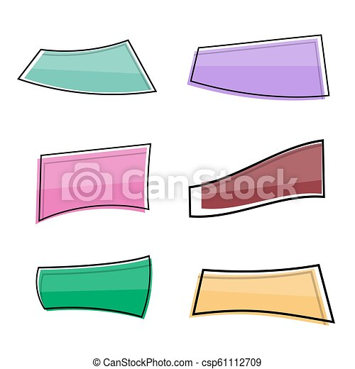 Flat Linear Promotion Ribbon Banner Price Tag Sticker Vector Illustration