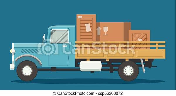 Flat loaded truck - csp56208872