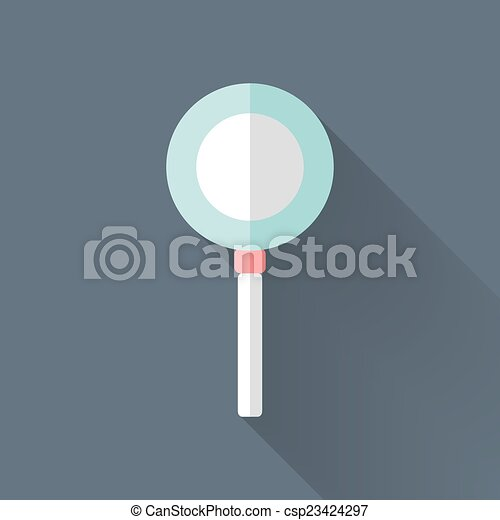 Flat loupe icon over blue - csp23424297