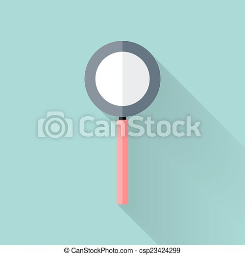 Flat loupe icon over mint - csp23424299