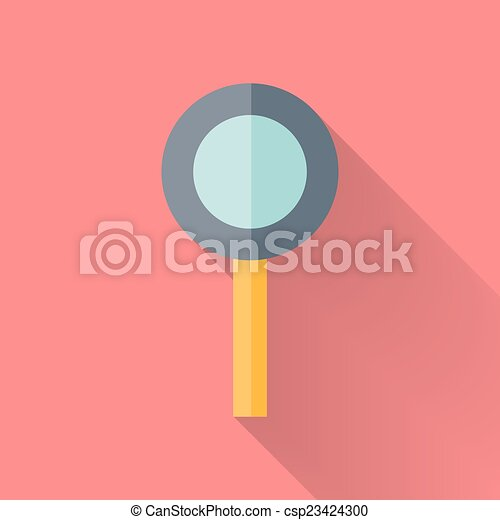 Flat loupe icon over pink - csp23424300