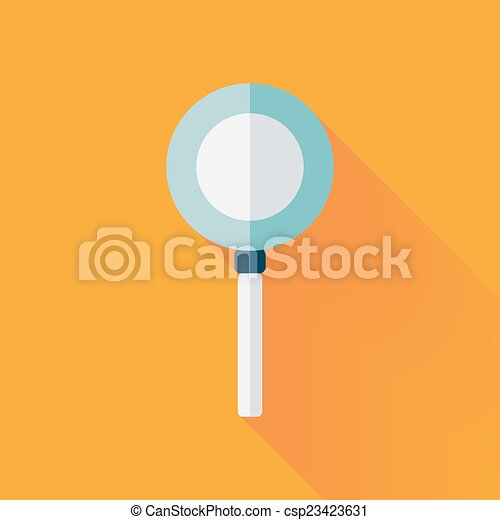 Flat loupe icon over yellow - csp23423631