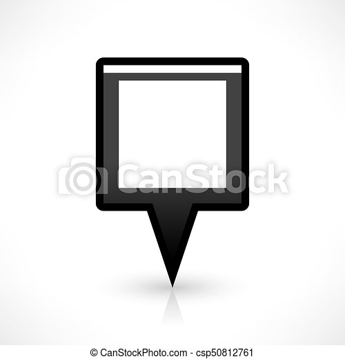 Flat map pin icon black location square sign - csp50812761
