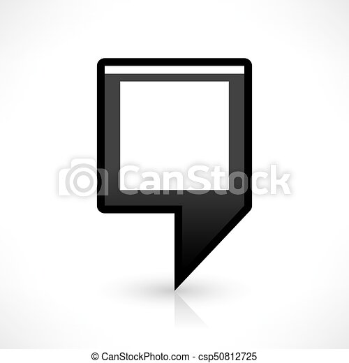 Flat map pin icon black location square sign - csp50812725