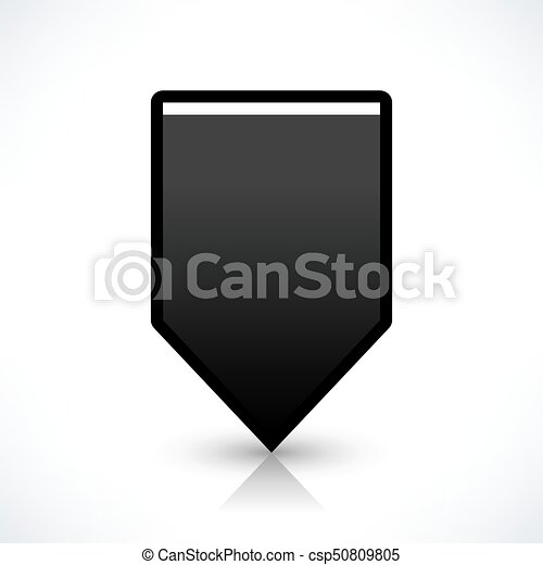 Flat map pin icon black location square sign - csp50809805