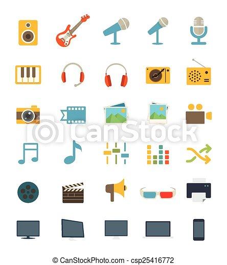 Flat Media Icons - csp25416772