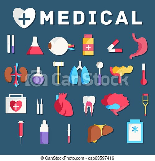 flat medical equipment set icons concept background. vector illustration design - csp63597416