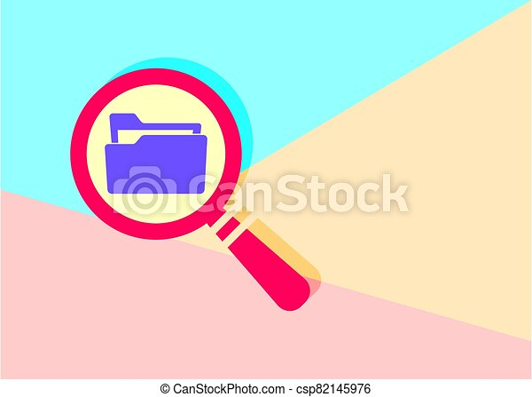 flat modern red  Search concept with folder icon with shadow on - csp82145976