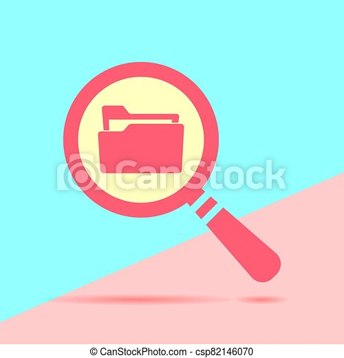 flat modern red  Search concept with folder icon with shadow on - csp82146070