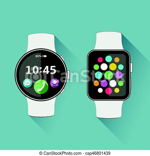 Flat modern smart watch with long shadow - csp46801439