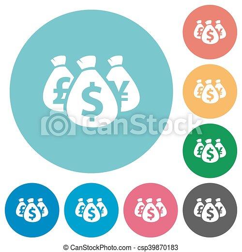 Flat money bags icons - csp39870183