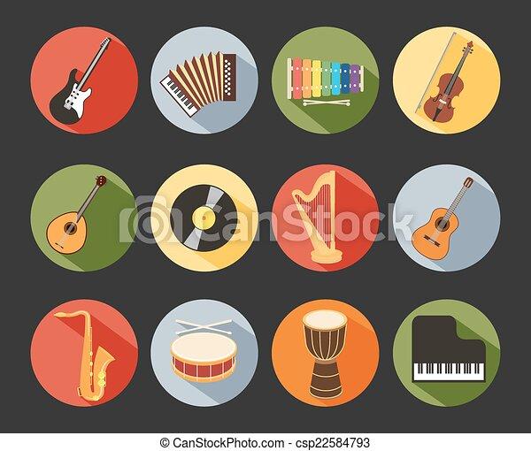 Flat Musical Icons - csp22584793