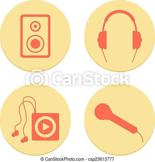 flat musical icons set on white background - csp23613777