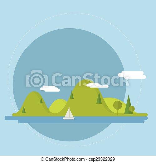 Flat nature landscape illustration - Vector illustration in tren - csp23322029