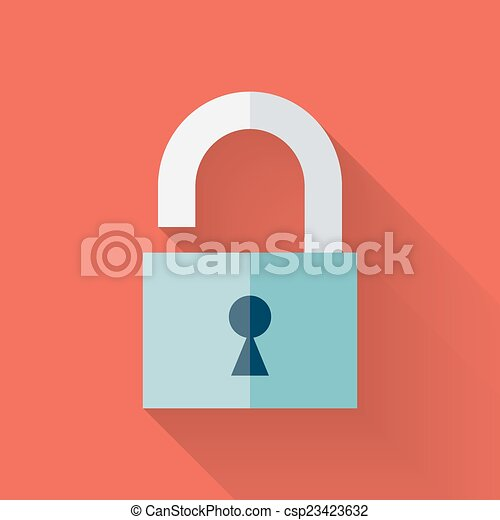 Flat open padlock icon over red - csp23423632