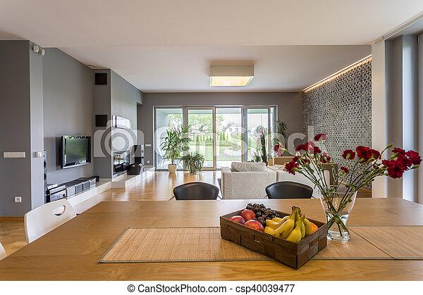 Tv In Vloer : Flat open plan vloer. levend stijl flat kamer vloer tv het