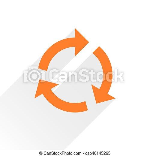 Flat orange arrow icon refresh sign on white - csp40145265