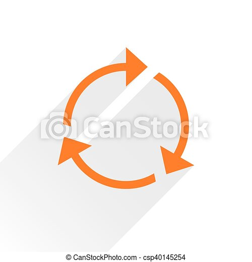 Flat orange arrow icon reload sign on white - csp40145254