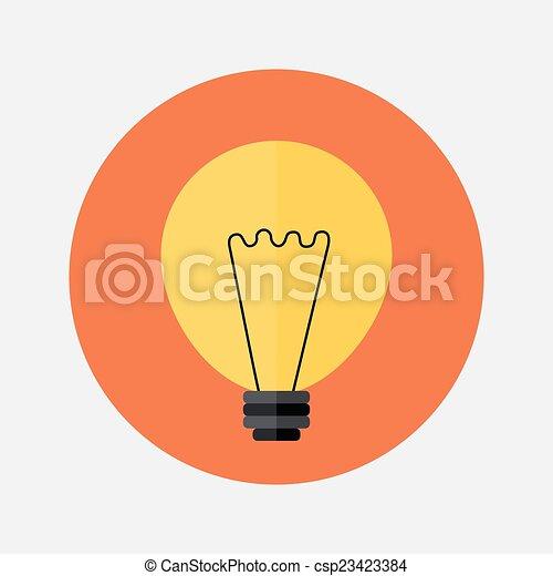 Flat orange lamp icon over red - csp23423384