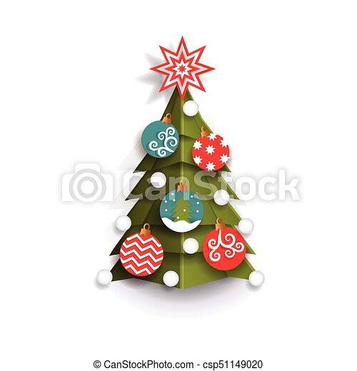 Christmas Tree Cutout.Flat Paper Cut Christmas Tree Decoration Element