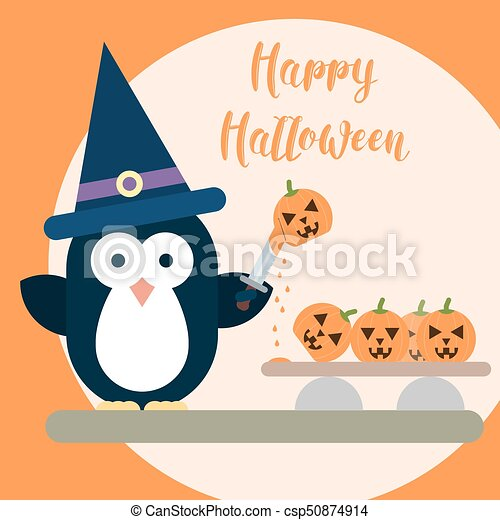 Flat penguin character stylized as witch with knife and with carved pumpkins. Halloween card template. - csp50874914