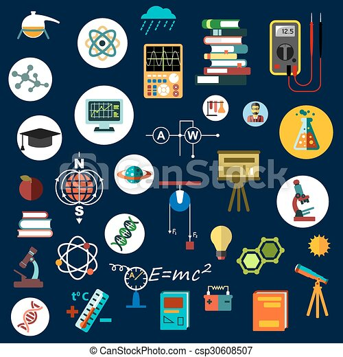 Flat Physics Science Equipment And Symbols Physics Science And