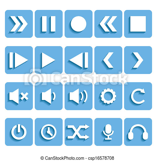 Flat Player Icons With Shadow Vector