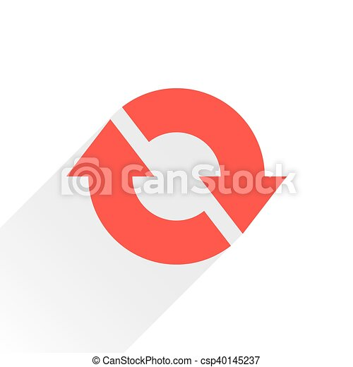 Flat red arrow icon reset, repeat sign on white - csp40145237